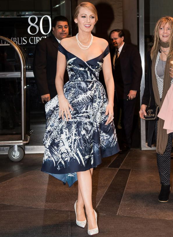 Leaving her New York hotel, Blake donned this blue and white print cocktail dress by Zuhair Murad.