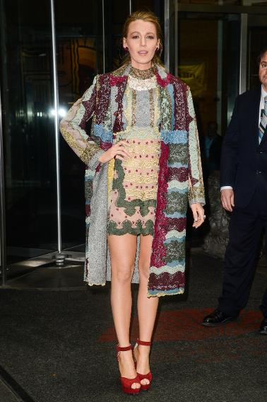Spotted in a printed coat and dress ensemble by Valentino as she left her New York hotel en route to an interview to promote her new film, The Age of Adaline