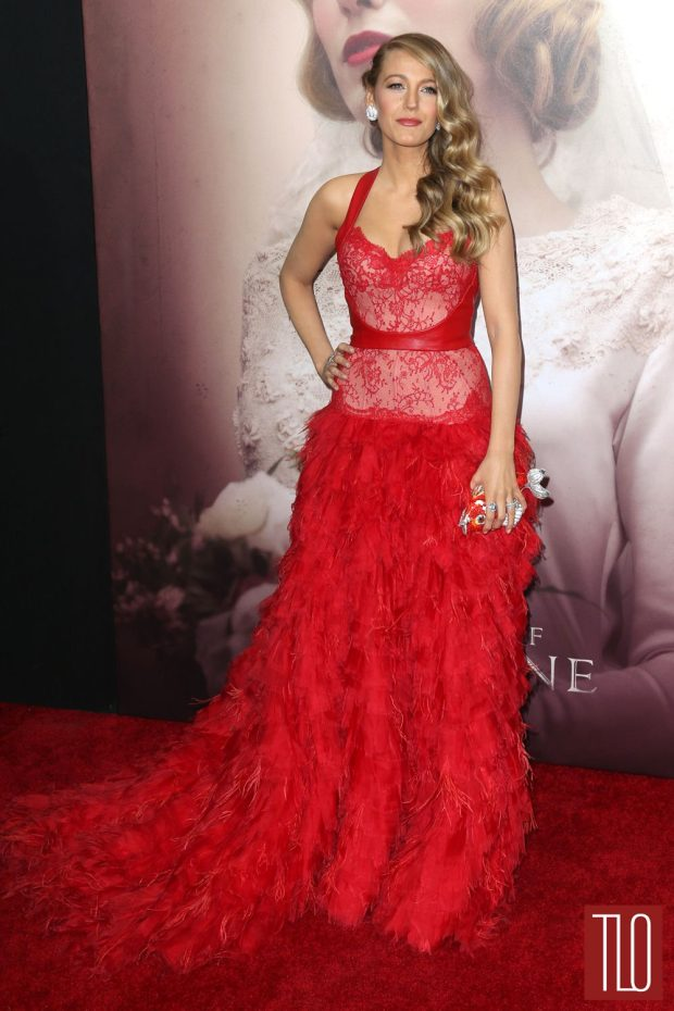 For the New York premiere of The Age of Adaline she wore a Monique Lhuillier gown. A mix between feather and lace