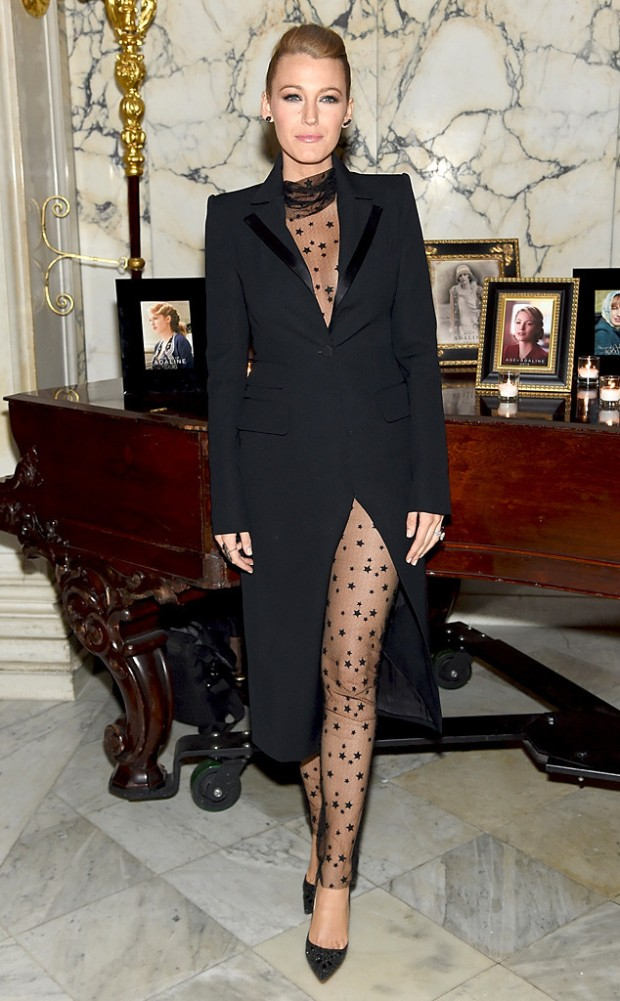 She wore an outfit by Monique Lhuillier to The Age of Adaline New York premiere after-party. A dotted sheer ensemble. She looks extremely sexy !