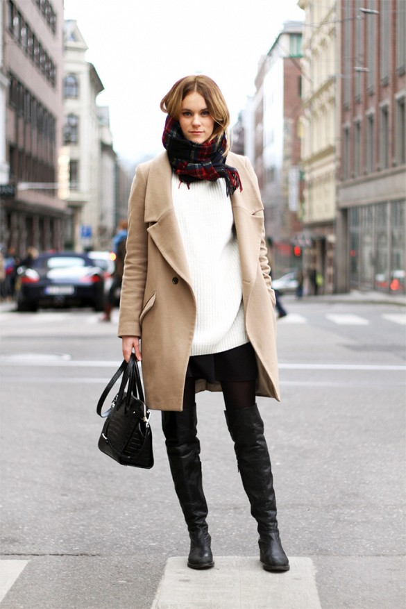 camel-coat-white-sweater-turtleneck-sweater-fall-neutrals-black-mini-skirt-fall-neutrals-over-the-knee-boots-classic-via-whowhatwear
