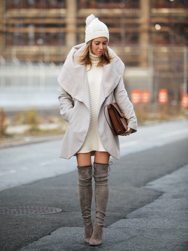 turtleneck-sweater-dress-pom-pon-hat-winter-whites-over-the-knee-boots-shawl-coat-via-brooklyn-blonde1